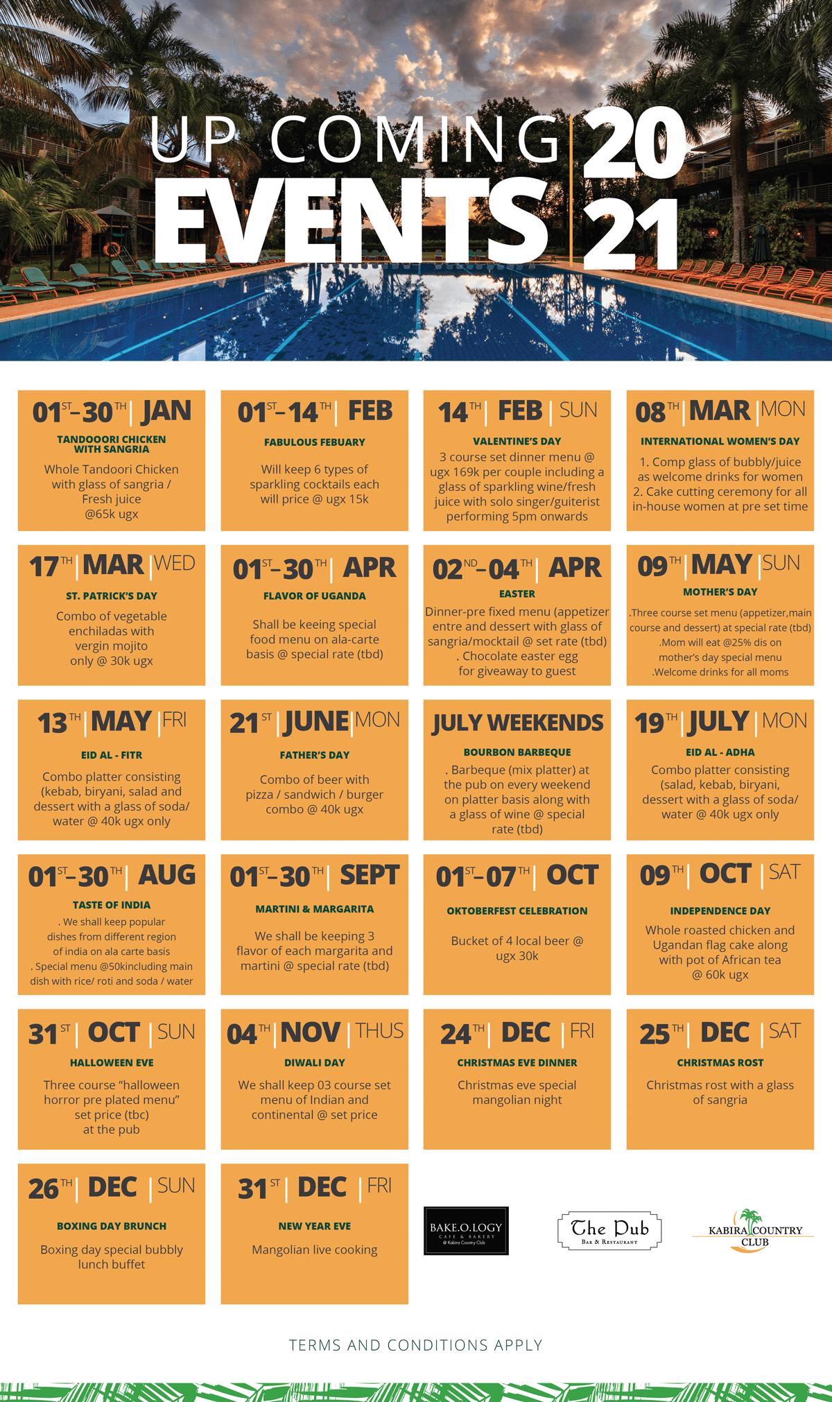 Kabira Country Club Events Calendar 2021